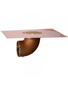 Thunderbird Copper Balcony Deck Drain with 4 Inch Bowl and 90° Outlet